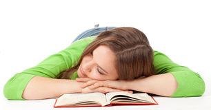 Sleeping girl with book Royalty Free Stock Photos