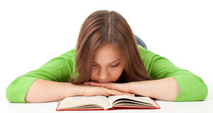 Sleeping girl with book Royalty Free Stock Image
