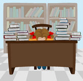 The sleeping girl with books Stock Photography