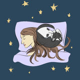 Sleeping girl with cat. Sketch. Vector Stock Photo