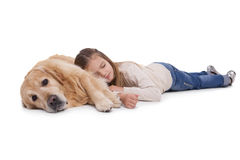 Sleeping girl with her pet dog Stock Images