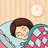 Sleeping girl. Illustration of sleeping girl with clock Royalty Free Stock Images