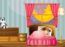 A sleeping girl. Illustration of a sleeping girl in her bedroom Royalty Free Stock Photography