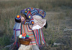 Sleeping girl in knitted dress Royalty Free Stock Photography