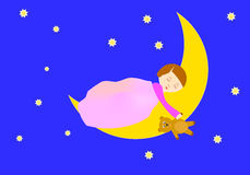 Sleeping girl. Girl sleeping on the moon holding a teddy bear royalty free illustration