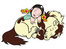 Sleeping girl and pony Stock Images
