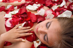 Sleeping girl in rose petal. Beautiful sleeping girl in rose petal. Spa resort Stock Image