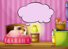 A sleeping girl and a speech bubble Royalty Free Stock Images