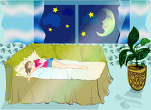 The sleeping girl. Сладкий сон  -  Спящая девушка в уютной обстановке. В окно светит месяц на ночном небе Royalty Free Stock Photos