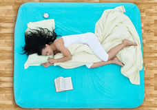 Sleeping girl, view from above royalty free stock photos