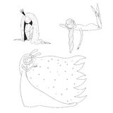 Sleeping girls set. Set of hand drawn vector illustrations of cute sleeping girls: in a night gown and socks, princess with long hair, moon goddess with bunny stock illustration