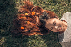 Sleeping on the grass Royalty Free Stock Images