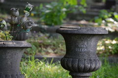 """Only sleeping. Gray grave vase """"Only Sleeping&#x22 Stock Photo"""