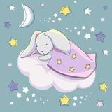 A gray hare under a blue blanket is sleeping on a white cloud on a blue background with stars. royalty free illustration