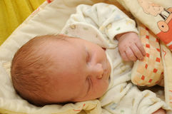 Sleeping hairy newborn Royalty Free Stock Photos