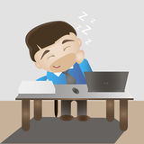 Sleeping happy man on a work place. Flat vector illustration Royalty Free Stock Photo