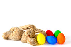 Sleeping hare with Easter eggs Stock Photos