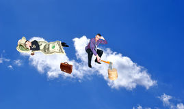 Sleeping upon heaven cloud businessman Stock Photos