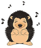 Sleeping Hedgehog sing. Sleeping and cute Hedgehog sing and many black notes fly Stock Images