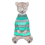 Sleeping hipster bear in clothes. Sleeping hipster teddy-bear in a knitted striped sweater. Watercolor illustration for poster, postcard, products Royalty Free Stock Image