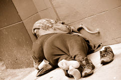 Sleeping Homeless Woman. In San Francisco, California royalty free stock images