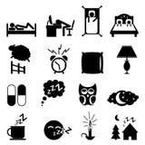 Sleeping icons set. Isolated on white background Stock Photos