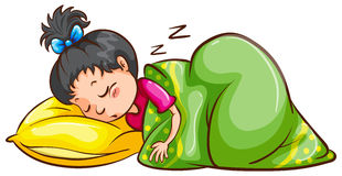 Sleeping. Illustration of a girl sleeping Stock Images
