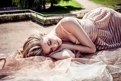 Sleeping In The Summer Park Stock Photos