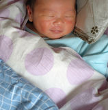 Sleeping infant. A sleeping infant with smiling face in the quilt, comfortable Royalty Free Stock Photography
