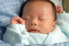 Sleeping infant. A sleeping infant in the quilt, comfortable Stock Image
