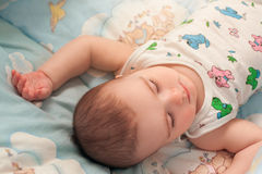 Sleeping infant boy Royalty Free Stock Images
