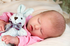 Sleeping infant and Bunny Rabbit Royalty Free Stock Photos