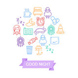 Sleeping and Insomnia Color Round Design Template Line Icon Concept. Vector Stock Photo