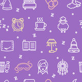 Sleeping and Insomnia Pattern Background Concept. Vector Royalty Free Stock Photos