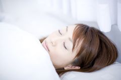Sleeping Japanese woman Royalty Free Stock Photos