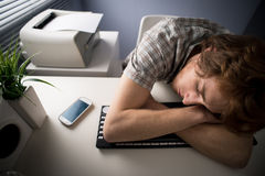 Sleeping on keyboard Royalty Free Stock Photos