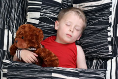 Sleeping kid. 4-5 years old boy in bed - sleeping time stock images
