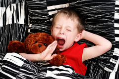 Sleeping kid. 4-5 years old boy in bed - sleeping time royalty free stock photo