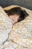 Sleeping Kid in Bed Stock Photo