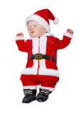 The sleeping kid in a suit of Santa Claus Stock Photos