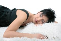 Sleeping lady. Young beautiful woman sleeping on white pillow Royalty Free Stock Photo