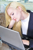 Sleeping on the laptop Royalty Free Stock Photography