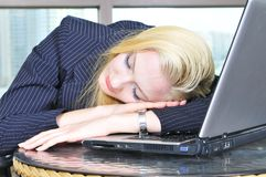 Sleeping on the laptop Royalty Free Stock Image