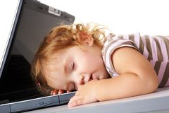 Sleeping with laptop Stock Images