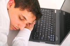 Sleeping On Laptop stock photo