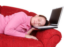 Sleeping on laptop Stock Photos