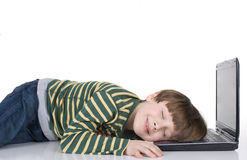 Sleeping Laptop Boy Stock Photo