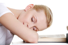 Sleeping while learning Stock Images