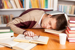 Sleeping at the library. Stock Photos