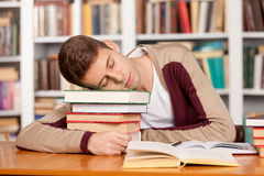 Sleeping at the library. Royalty Free Stock Photo